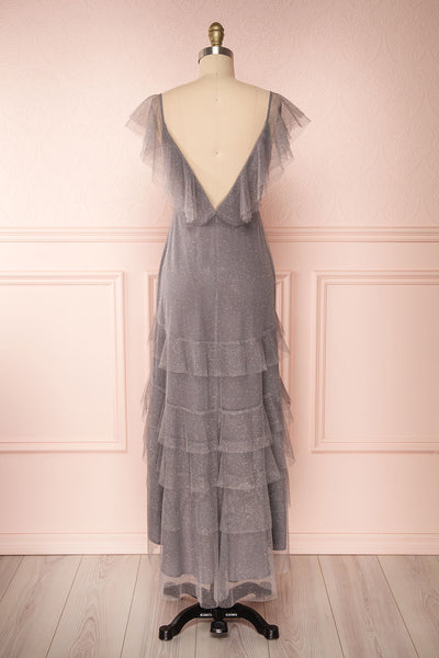 Nyssa Grey Layered Tulle Dress | Robe Grise | Boutique 1861 back view