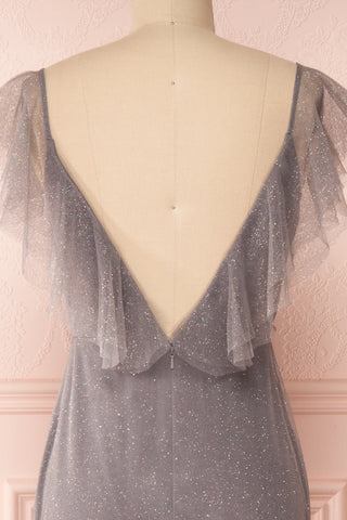 Nyssa Grey Layered Tulle Dress | Robe Grise | Boutique 1861 back close-up
