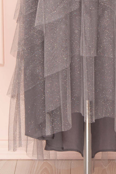 Nyssa Grey Layered Tulle Dress | Robe Grise | Boutique 1861 bottom close-up