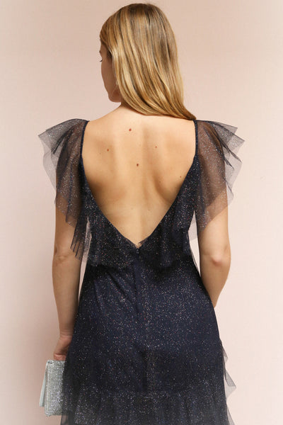 Nyssa Navy Midi Blue Tulle Dress | Boutique 1861 on model back view