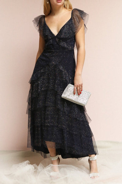 Nyssa Navy Midi Blue Tulle Dress | Boutique 1861 on caucasian model
