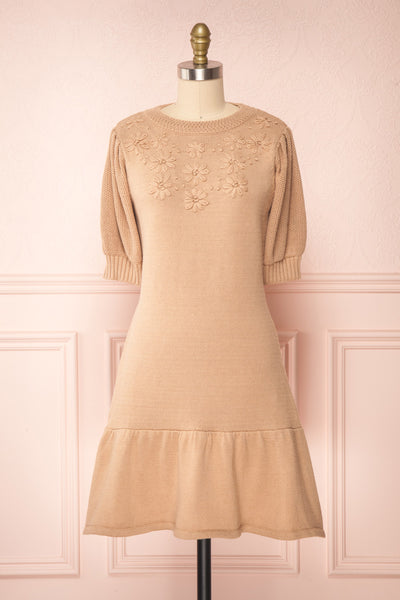 Ondine Sand Beige Knitted Fit & Flare Dress | Boutique 1861 front view