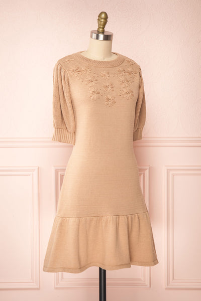Ondine Sand Beige Knitted Fit & Flare Dress | Boutique 1861 side view