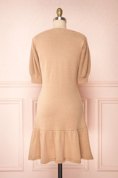 Ondine Sand Beige Knitted Fit & Flare Dress | Boutique 1861 back view