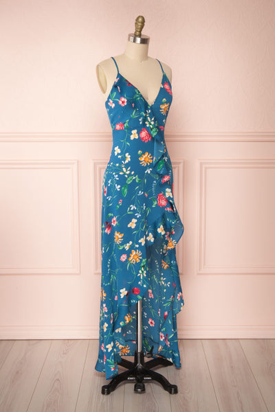 Octavie Blue Floral Maxi Dress w/ Frills | Boutique 1861 side view