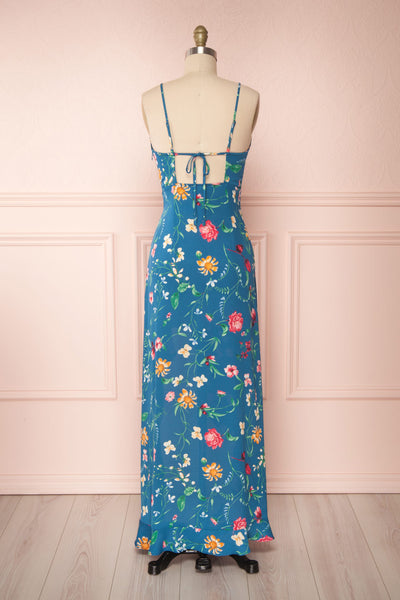 Octavie Blue Floral Maxi Dress w/ Frills | Boutique 1861 back view