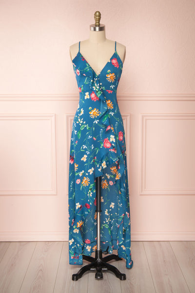 Octavie Blue Floral Maxi Dress w/ Frills | Boutique 1861 fabric