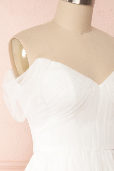 Odette White Midi Tulle Dress | Boudoir 1861 side view close up