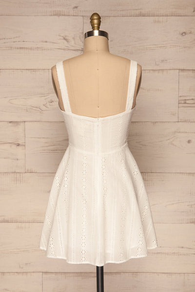 Odivelas White Short Openwork Dress | La petite garçonne back view