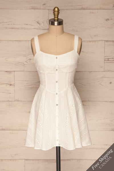 Odivelas White Short Openwork Dress | La petite garçonne front view