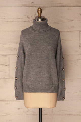 Offida Grey Turtleneck Sweater with Buttons | La Petite Garçonne 1