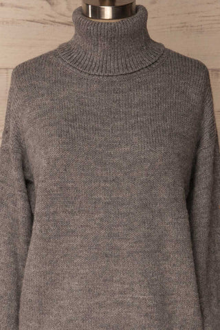Offida Grey Turtleneck Sweater with Buttons | La Petite Garçonne 2