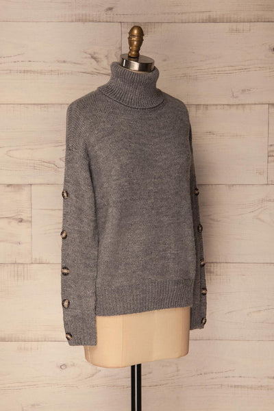Offida Grey Turtleneck Sweater with Buttons | La Petite Garçonne 3