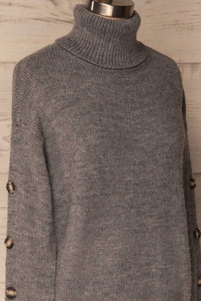 Offida Grey Turtleneck Sweater with Buttons | La Petite Garçonne 4