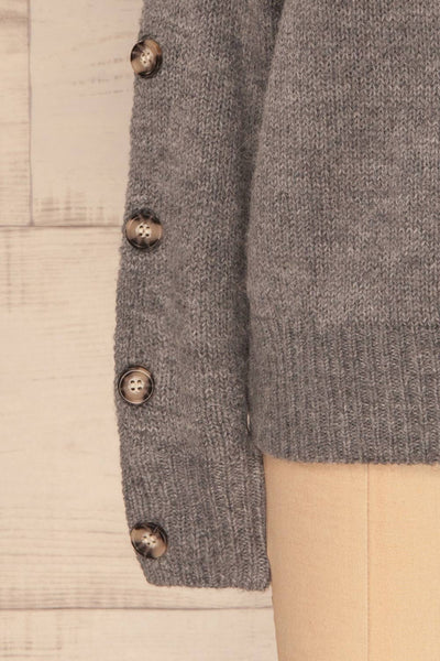Offida Grey Turtleneck Sweater with Buttons | La Petite Garçonne 7