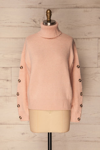 Offida Pink Turtleneck Sweater with Buttons | La Petite Garçonne 1
