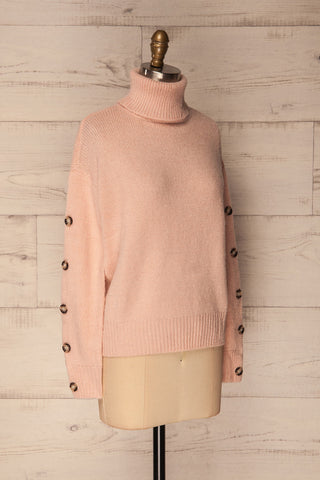 Offida Pink Turtleneck Sweater with Buttons | La Petite Garçonne 3