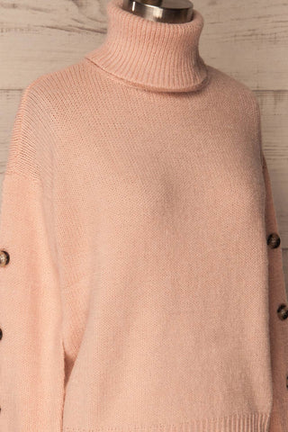 Offida Pink Turtleneck Sweater with Buttons | La Petite Garçonne 4