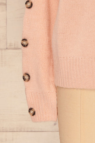 Offida Pink Turtleneck Sweater with Buttons | La Petite Garçonne 7
