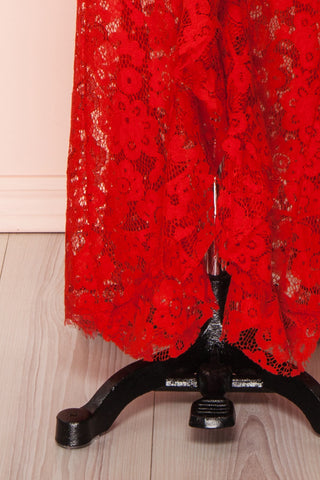 Ogaki Red Lace Mermaid Gown | Boutique 1861 7