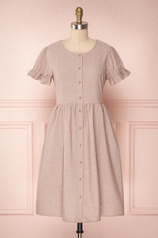 Ohara Sand Beige Striped Button-Up Dress | Boutique 1861
