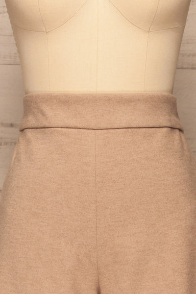 Ohrid Beige Wide Leg Cropped Pants | La petite garçonne  front close-up