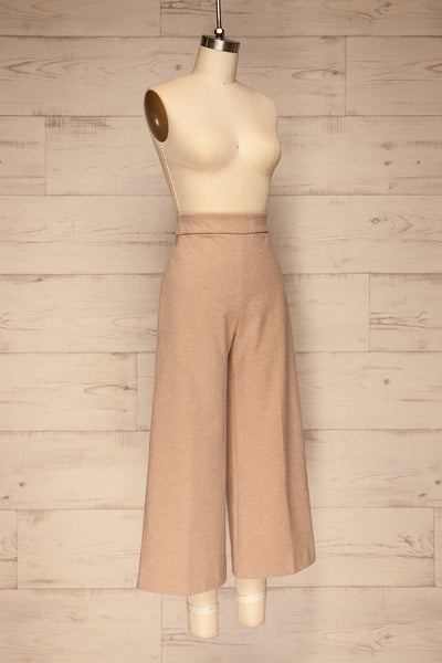 Ohrid Beige Wide Leg Cropped Pants | La petite garçonne side view