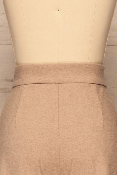 Ohrid Beige Wide Leg Cropped Pants | La petite garçonne  back close-up