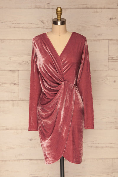 Olawa Pink Long Sleeve Velvet Dress | La petite garçonne  front view
