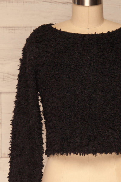 Olbia Black Fuzzy Knit Sweater | La Petite Garçonne front close-up