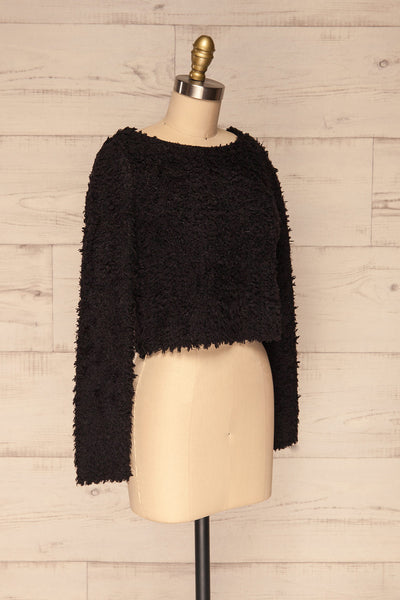 Olbia Black Fuzzy Knit Sweater | La Petite Garçonne side view