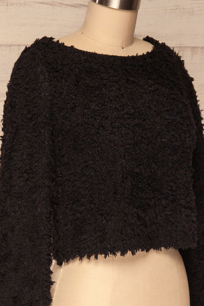 Olbia Black Fuzzy Knit Sweater | La Petite Garçonne side close-up