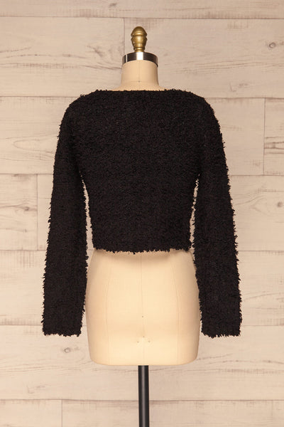 Olbia Black Fuzzy Knit Sweater | La Petite Garçonne back view