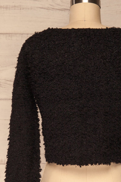 Olbia Black Fuzzy Knit Sweater | La Petite Garçonne back close-up
