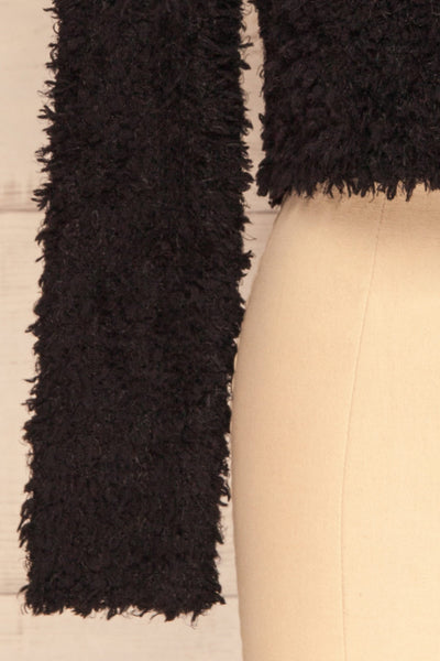 Olbia Black Fuzzy Knit Sweater | La Petite Garçonne bottom close-up