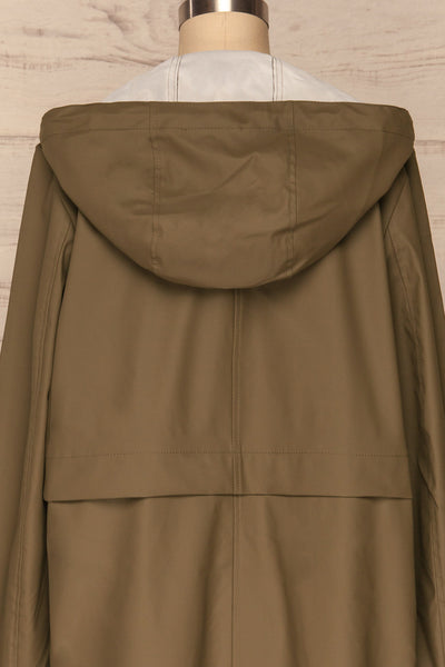 Oldham Khaki Matte Raincoat | La Petite Garçonne back close up