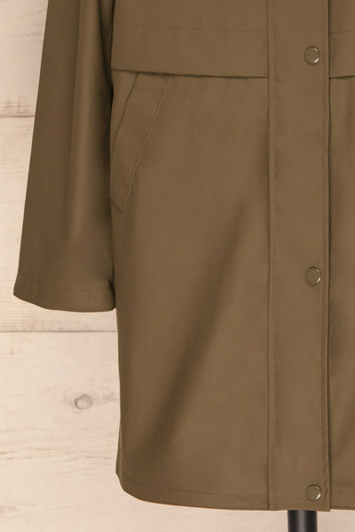 Oldham Khaki Matte Raincoat | La Petite Garçonne bottom close up