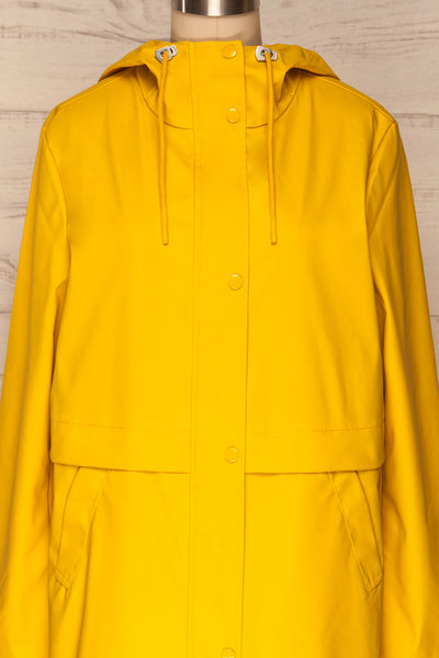 Oldham Yellow Matte Raincoat | La Petite Garçonne front close up