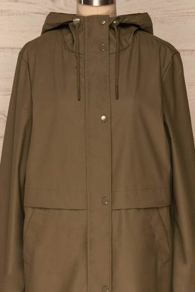 Oldham Khaki Matte Raincoat | La Petite Garçonne front close up