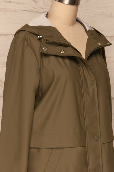 Oldham Khaki Matte Raincoat | La Petite Garçonne side close up