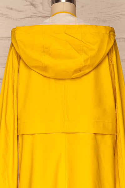 Oldham Yellow Matte Raincoat | La Petite Garçonne back close up