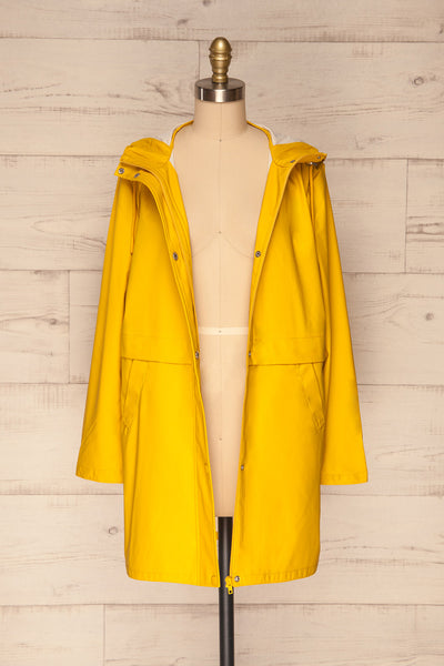 Oldham Yellow Matte Raincoat | La Petite Garçonne front view open