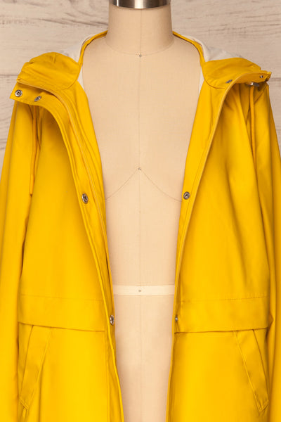 Oldham Yellow Matte Raincoat | La Petite Garçonne front close up open