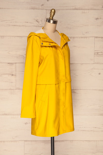 Oldham Yellow Matte Raincoat | La Petite Garçonne side view