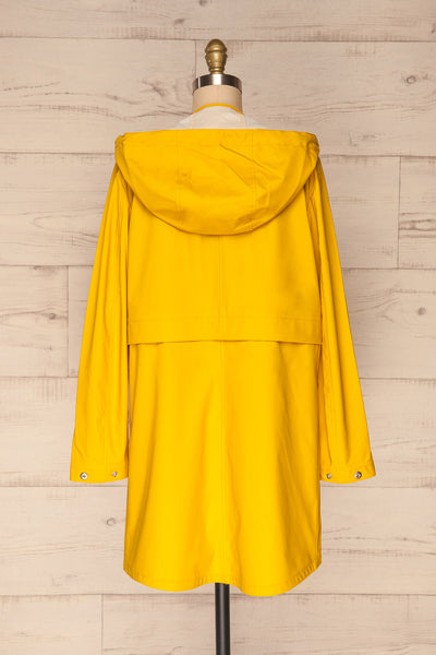 Oldham Yellow Matte Raincoat | La Petite Garçonne back view