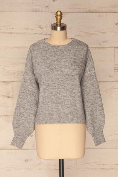 Oleksandra Grey Knit Sweater with Lace-Up Back | La Petite Garçonne front view