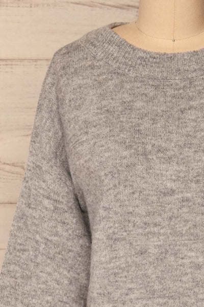 Oleksandra Grey Knit Sweater with Lace-Up Back | La Petite Garçonne front close-up