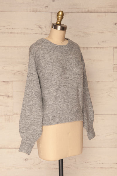 Oleksandra Grey Knit Sweater with Lace-Up Back | La Petite Garçonne side view