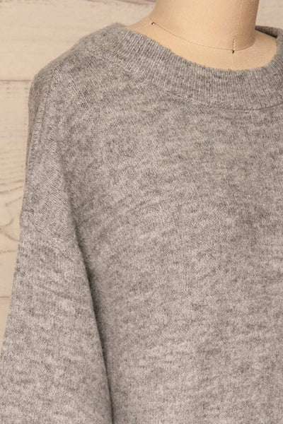Oleksandra Grey Knit Sweater with Lace-Up Back | La Petite Garçonne side close-up
