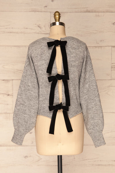 Oleksandra Grey Knit Sweater with Lace-Up Back | La Petite Garçonne back view